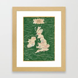 Vintage Victorian British Isles Map Framed Art Print