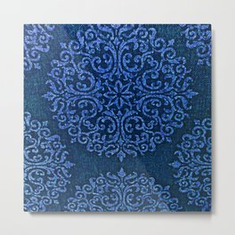 Vintage Blue Paisley Damask Pattern Metal Print