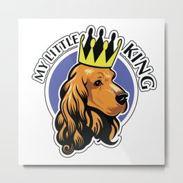 Red cocker spaniel head with crown Metal Print