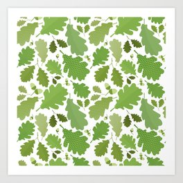 green leaves pattern, green foliage without gradient for printing Art Print