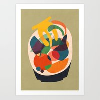wooden Art Prints featuring Fruits in wooden bowl by Picomodi