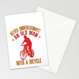 Mens Never Underestimate An Old Man With A Bicycle Gift Grandpas Stationery Cards