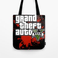 grand theft auto Tote Bags featuring grand theft auto 5 by Dan Solo Galleries