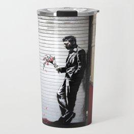 Banksy, Man with flowers Travel Mug