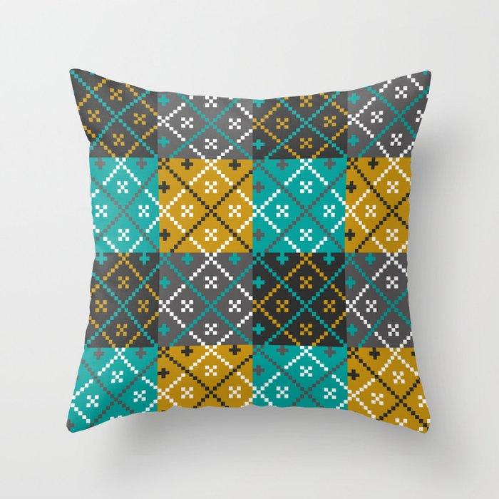 Folk Art Patchwork Throw Pillow