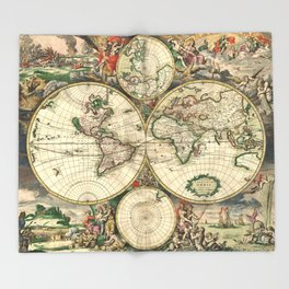Old map of world (both hemispheres) Throw Blanket