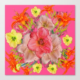 YELLOW PINK & CREAM DAYLILIES COLLAGE Canvas Print