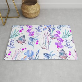 Modern purple blue watercolor hand painted orquid butterfly Rug
