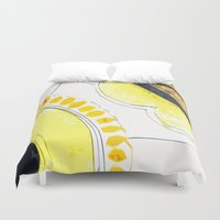 kitchen Duvet Covers featuring Kitchen Flowers  by Ethna Gillespie