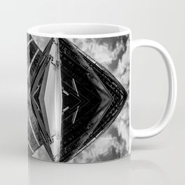Alien Mothership and Cloudscape in Black and White Coffee Mug