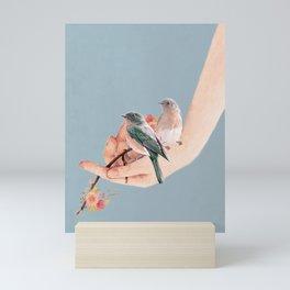 Birds on Hand Mini Art Print