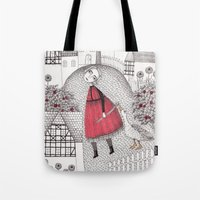 jazzberry Tote Bags featuring The Old Village by Judith Clay