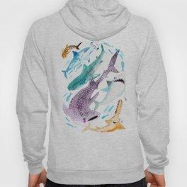Help Stop Shark Finning - Watercolor Ocean Animals - Fish Hoody