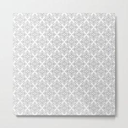 Damask (Gray & White Pattern) Metal Print