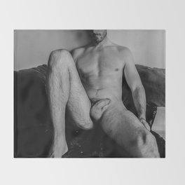 Relaxed Male Nude Throw Blanket