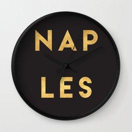 NAPLES ITALY GOLD CITY TYPOGRAPHY Wall Clock