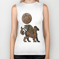 mythology Biker Tanks featuring Gryphon New Age Mythology Folk Art by BohemianBound