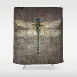 Dragonfly On Distressed Metallic Grey Background Shower Curtain