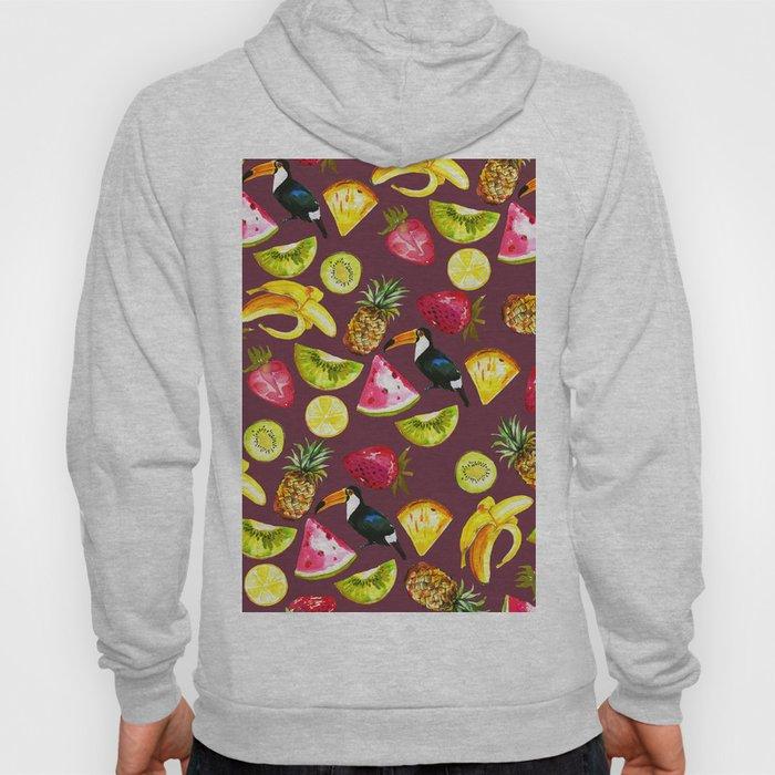 Burgundy yellow pink watercolor tropical bird fruit Hoody