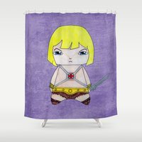 he man Shower Curtains featuring A Boy - He-Man by Christophe Chiozzi
