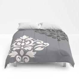 Scroll Damask Art I Cream & Grays Comforters