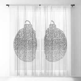 Silver Christmas bauble Sheer Curtain