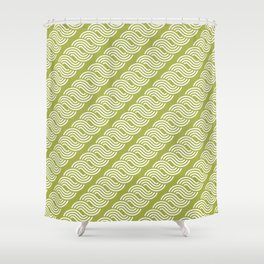shortwave waves geometric pattern Shower Curtain