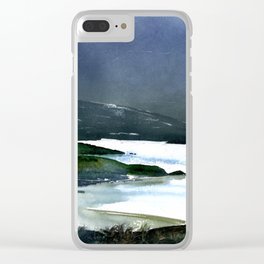 Icy white waters in forest black onyx mountains Clear iPhone Case