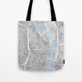Portland Oregon watercolor city map art Tote Bag