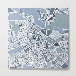 Amsterdam City Map Art Metal Print