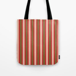 Christmas Stripes - Double Stripe Pattern in Retro Xmas Green, Red, and Cream Tote Bag
