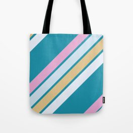 Pink White and Blue Stripes Tote Bag
