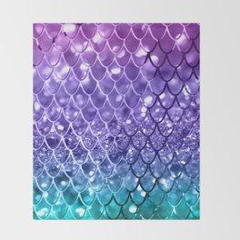 Mermaid Scales on Unicorn Girls Glitter #19 #shiny #decor #art #society6 Throw Blanket