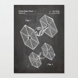 Starwars Tie Fighter Patent - Tie Fighter Art - Black Chalkboard Canvas Print
