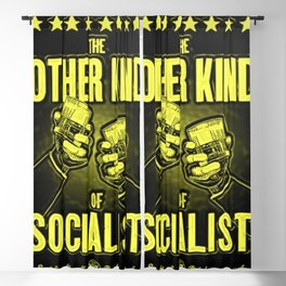 "Vintage ""The Other Kind of Socialist"" Alcoholic Lithograph Advertisement in lemon yellow Blackout Curtain"