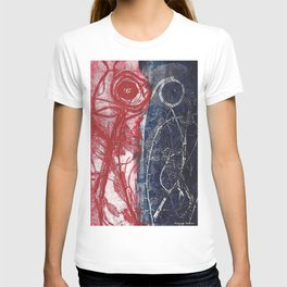 Etching in blue and red T-shirt