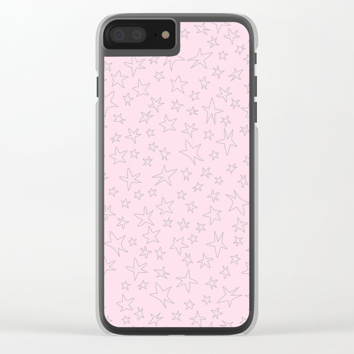 Grey handpainted little stars on pink background Clear iPhone Case