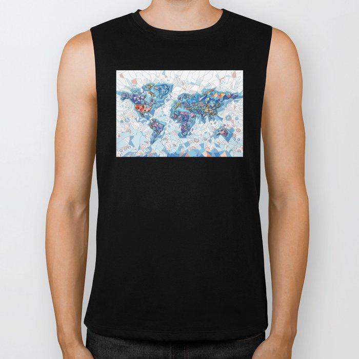 world map geometry white Biker Tank