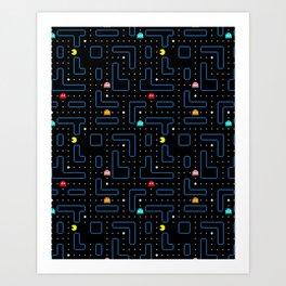 Pac-Man Retro Arcade Video Game Pattern Design Art Print