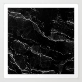 Smoke Black Marble Art Print