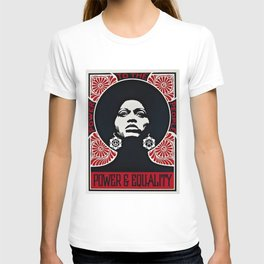 Angela Davis - Power & Equality - Power to the People - Red - African American Vintage Poster T-shirt