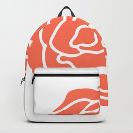 Rose Deep Coral on White Backpack