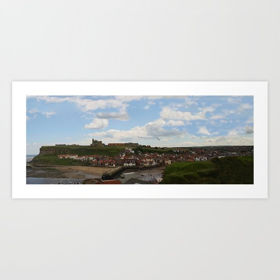 Colour Version of Whitby Harbour Panorama Art Print
