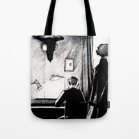221b Tote Bags featuring A 221B Scene by Carrianne Bullard