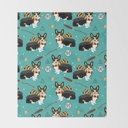 Corgi tricolored witch wizard magic dog breed gifts Throw Blanket