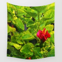 hibiscus Wall Tapestries featuring Hibiscus by Rachel Butler