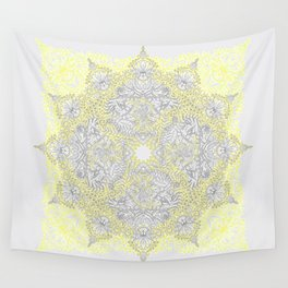 Sunny Doodle Mandala in Yellow & Grey Wall Tapestry