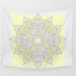 Sunny Doodle Mandala in Yellow & Grey Wall Tapestry