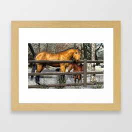 Mare and Foal in Winter Framed Art Print
