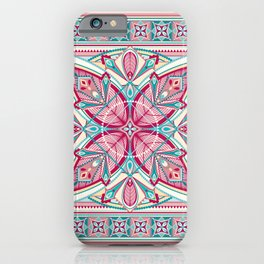 Hot Pink and Teal Art Deco Mandala iPhone Case